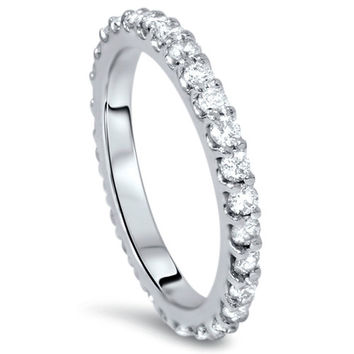 Diamond .90CT Eternity Ring Stackable Prong Band Womens Anniversary 14 Karat White Gold Size 4-9
