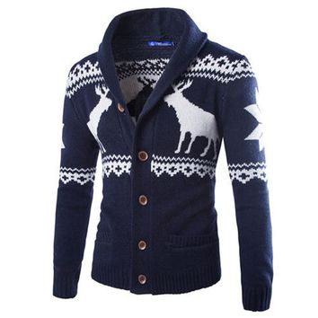 Single Breasted Casual Men's Sweater With Deer Pattern