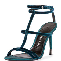 TOM FORD Velvet Cage 105mm Sandal, Pacific Blue