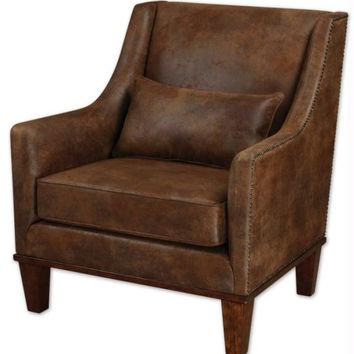 Arm Chair - Tanned Leather Look