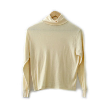 Vintage Sweater ~ Size Large ~ Easter Spring Pastel Pale Yellow Turtleneck Long Sleeve ~ By Diane Von Furstenberg