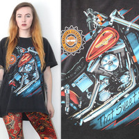 Vintage 90s Americana // 3D HD Harley Davidson T Shirt // That Sweet Sound Tee // One Size / XS Extra Small Small Medium Large