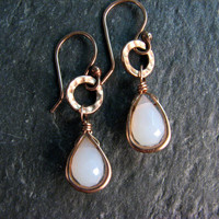 White Chalcedony Earrings Wrapped in Bronze - Dangle Drop Earrings - White and Gold - Modern Romance