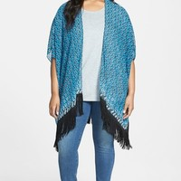 Plus Size Women's Two by Vince Camuto 'Batik Eternity' Fringe Kimono