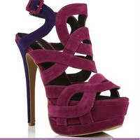 Plum And Purple Strappy Heels