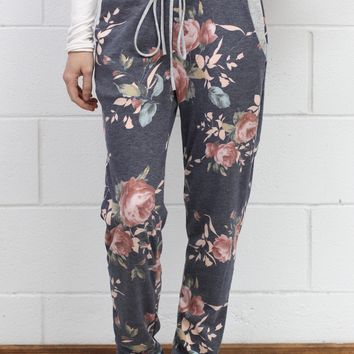 Floral Craze Sweatpant Joggers {Navy Mix}