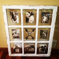 Beautiful Distressed Old Window Frame - 9 panes - Wedding - Anniversary - Graduation - Gift - Customize