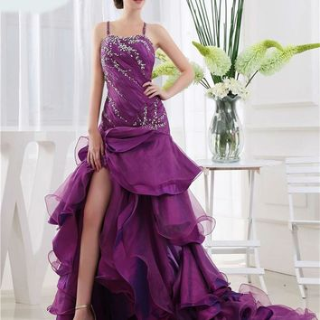 New Design Sexy Organza Purple Zipper Back Long Party Gown Backless Tassel Formal Evening Dresses