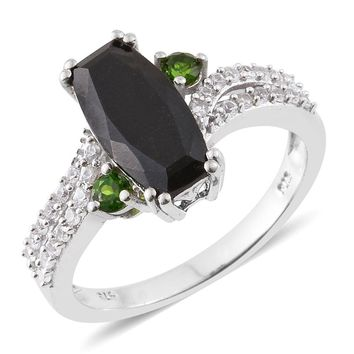 Black Tourmaline, Russian Diopside, Cambodian Zircon Sterling Silver Ring