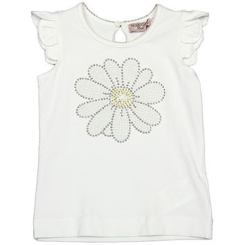 Monnalisa - Baby Girls T-Shirt Maxi Daisy With Studs, White - 3M