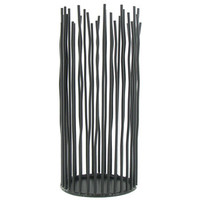 "9"" Tall Black Metal Sticks Pillar Candle Holder 