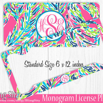 aqua palms monogram license plate frame holder cover metal sign