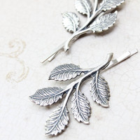Silver Branch Bobby Pins Antique Silver Leaf Hair Clips Nature Hair Accessories Woodland Wedding Grey Winter Forest Leaves Hair Slides