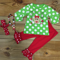 Green Polka Dot Christmas Reindeer
