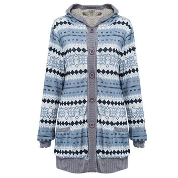 Chic Hooded Long Sleeve Tribal Print Coat with Velvet for Women