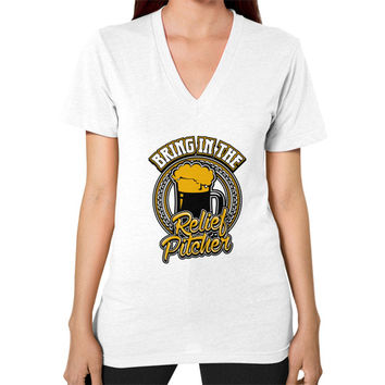 Bring in the relief pitcher V-Neck (on woman)