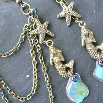 BRASS mermaid abalone starfish ear cuff SET with chains mermaid siren abalone in boho gypsy hippie hipster beach resort and fantasy style