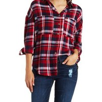 Med Red Combo Oversized Plaid Button-Up Top by Charlotte Russe