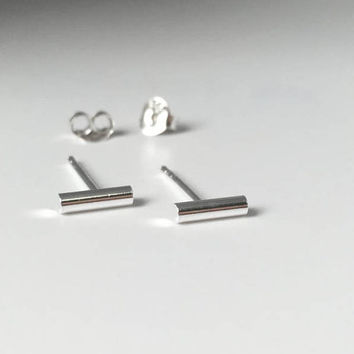 925 Silver Bar Stud Earrings, Minimalist, Tiny Bar Stud Earring, Modern Jewelry, Bar Jewelry, Bar Earring, Post Earrings, Chic, Gift for Her