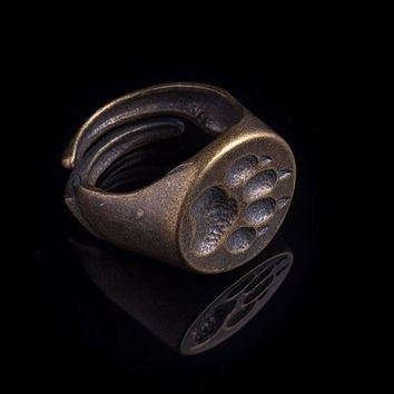 Wolf Paw Signet Ring, brass, adjustable size, handmade ..... Wolf Footprint Ring, Wolf Foot Ring
