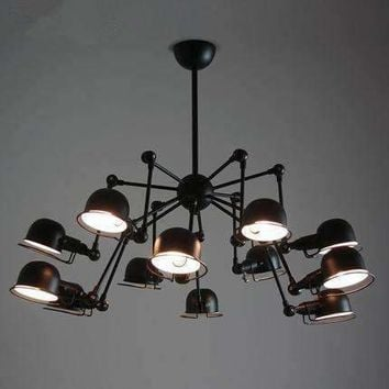 Vintage loft 12 lights spider chandelier Lighting industrial black ceiling Lamp Kitchen Light Fixtures luminaria avize Lustre