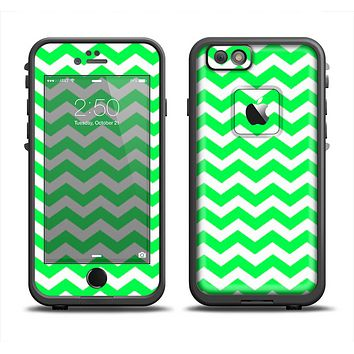 The Green & White Chevron Pattern Apple iPhone 6 LifeProof Fre Case Skin Set