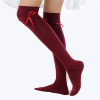 Hot Sale Female Stockings Over The Knee Thigh Soft Cotton Ribbon Linda Girl Wavy Edge Pure Color Bowknot Women New Clothing W021