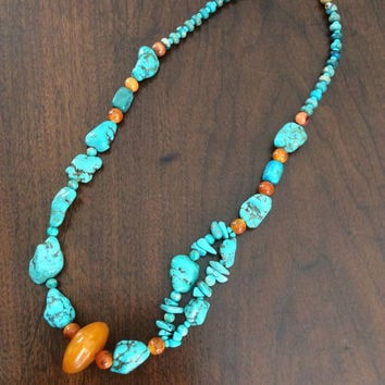 Turquoise Necklace - Native American Howlite Energy Healing Necklace - Amber Copal Resin Ethnic Necklace - Hopi Gold