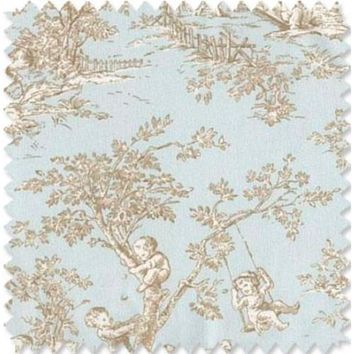 Baby Toile-Blue & Brown Fabric By The Yard | 100% Cotton