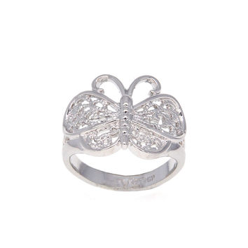 Dear Deer White Gold Plated Butterfly Filigree Cocktail Ring