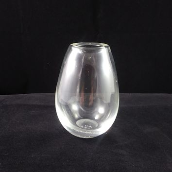 Handmade Art Glass Vase, Clear, Small