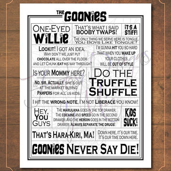 The Goonies Movie Quotes Print // Typography Print // Movie Quotes // Quote Collage // Word Art // Goonies Art Print // DIGITAL download