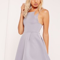 Missguided - Double strap Bonded Scuba Skater Dress Grey