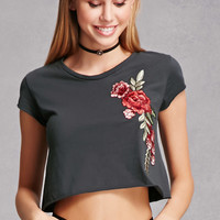 Raw-Cut Floral Cropped Tee