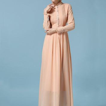 Apricot Ruffled Funnel Collar Chiffon Long Sleeve A-Line Pleated Maxi Dress