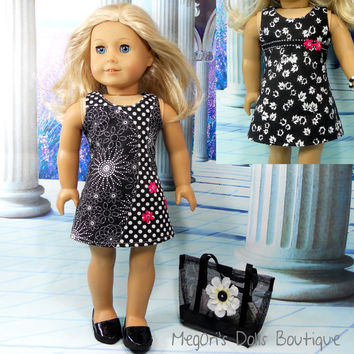 Black and White Mix Prints Dress Reversible Includes Leggings, Bracelet, Tote