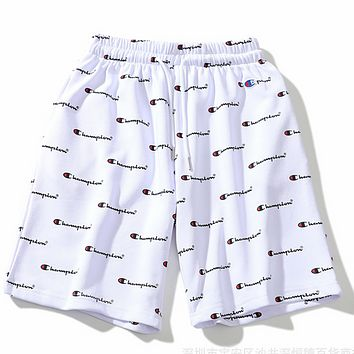 CHAMPIOM new full body print men and women couple casual shorts F0357-1 White