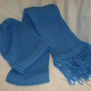 Vibrant Sky Blue Hand Knitted Hat Scarf Set