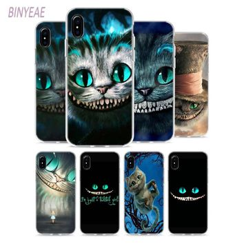 BINYEAE Alice in Wonderland Style Clear Soft TPU Phone Cases Cover for Apple iPhone X 8 7 6 6s Plus 5 5S SE 5C