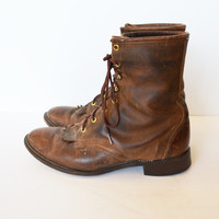 Vintage Brown Leather Roper Boots Lace up Lacer Boots Brown Ankle Boots Men's Boots Size 10