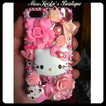 Cute Hello Kitty Iphone 5 Case Cupcake Bling Pink with pearls bows and bling