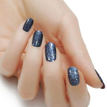 """Black Diamond"" Solid Glitter Nail Polish Strips"
