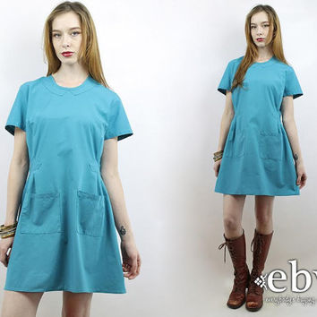 Vintage 70s Turquoise Nurse Dress L XL Scrubs XL Scrubs L Vintage Nurse Dress Nurse Costume Smock Waitress Dress