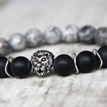 african bracelet gray bracelet black lion jewelry for men present for brother gift men's grunge bracelet for guys friend gift birthday
