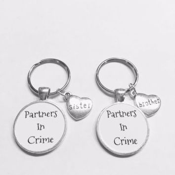 Brother Sister Partners In Crime Gift Keychain Set