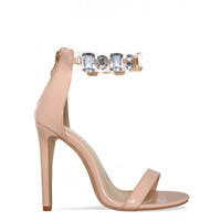 Tavia Nude Gem Clear Heels : Simmi Shoes