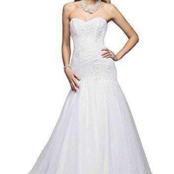 David's Bridal Sample: Trumpet Beaded Applique Gown Style AI10030379, White, 4
