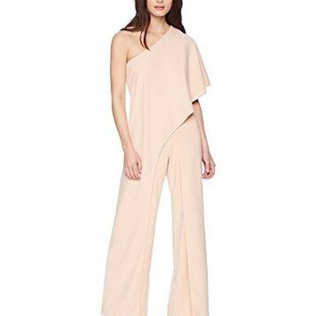 Adrianna Papell Women's Petite One Shoulder Draped Jumpsuit, Blush, 8P