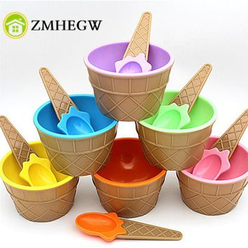 A lovely set of ice cream bowl with a spoon wonderful gift Children love Dessert ice cream bowls ice cream cup Six colors