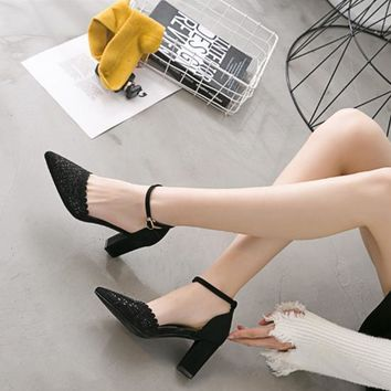 Women Fashion Suede Hollow Rhinestone Ankle Strap Shallow Mouth Pointed Toe Sandals Block Heels Shoes